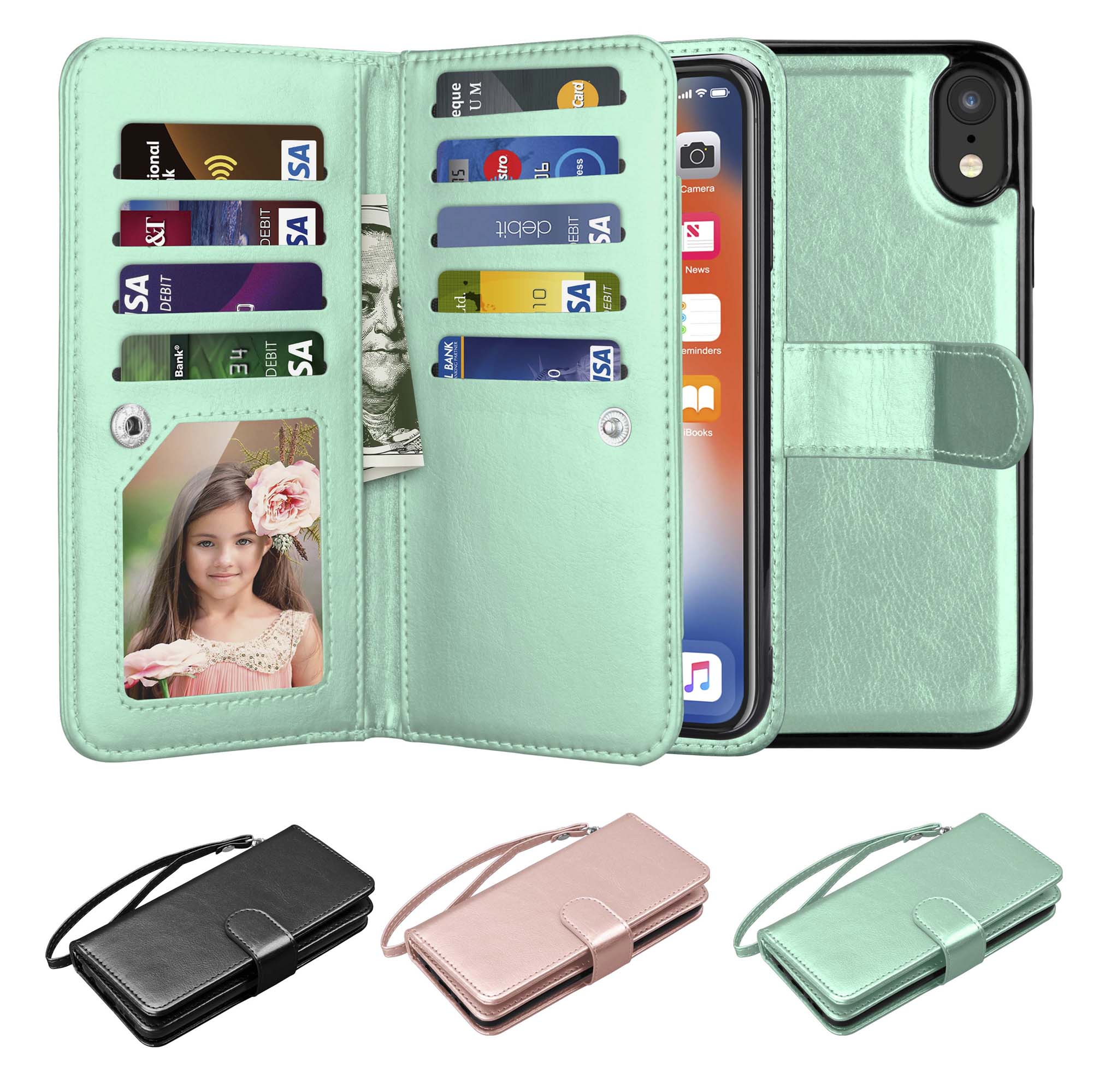 "iPhone XR Case, Wallet Case iPhone XR, iPhone XR Pu Leather Case, Njjex Pu Leather Magnet Stand Wallet Credit Card Holder Flip Case 9 Card Slots Case For Apple iPhone XR 6.1"" 2018 -Mint"