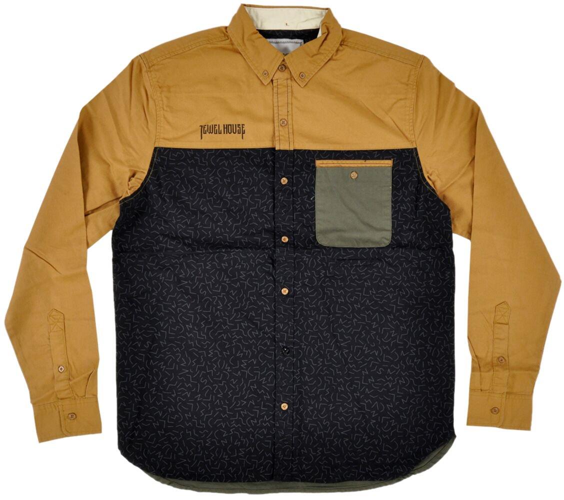 Jewel House Button Up Shirt Long Sleeve Khaki Olive Mens