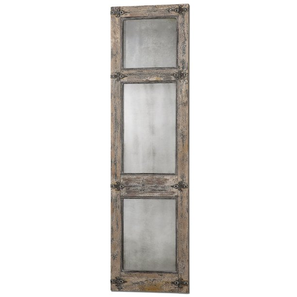 Uttermost 13835 Saragano Distressed Rustic Farmhouse Window Pane Floor Mirror Walmart Com Walmart Com
