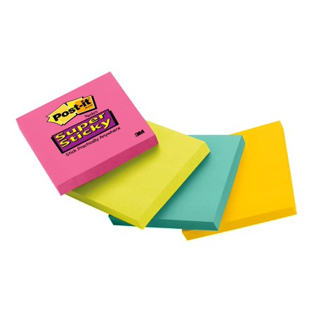 Post-it Super Sticky Notes, 3 in. x 3 in., Pink, Green, Blue Pads, 90 Sheets/Pad