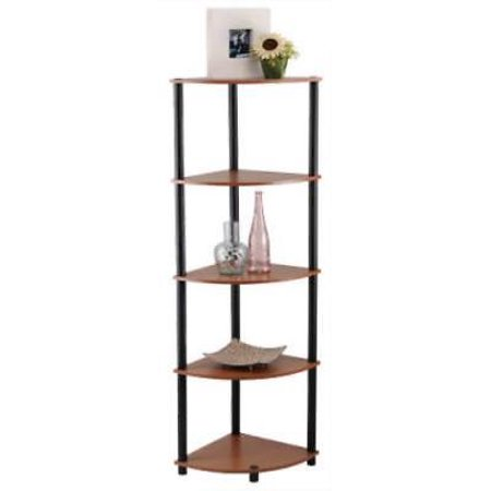 Cherry Corner Shelf - 5 Tier, Cherry Finish With Black Accents, Corner Shelf, Particle Board Only One