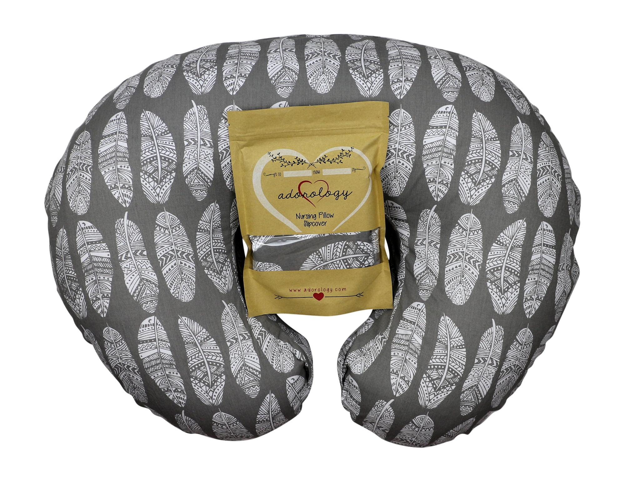 Nursing Pillow Slipcover Gray Feathers Design Maternity Breastfeeding Newborn Infant Feeding Cushion Cover... by Adorology