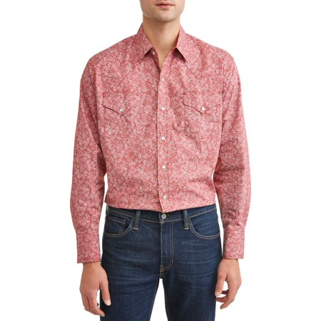Plains Men's Long Sleeve Paisley Print Western Shirt, up to Size 4XL - Mens Print Western Shirt