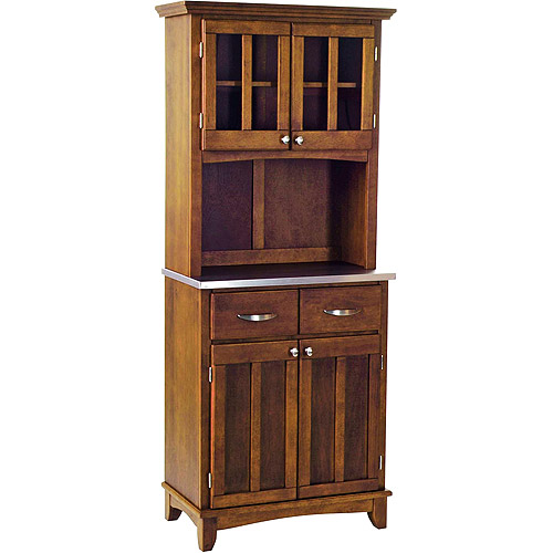 Home Styles Small Buffet & Two-Door Hutch, Cherry Finish with Stainless-Steel Buffet Top