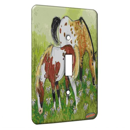 KuzmarK™ Single Gang Toggle Switch Wall Plate - Appaloosa and Pinto Horse Art by Denise Every ()