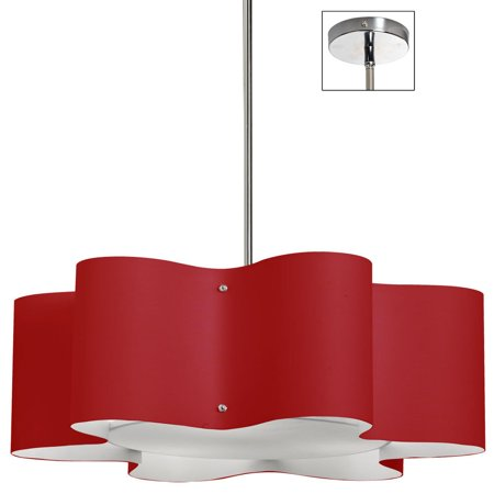 - Dainolite 3 Light Wave Drum Pendant w/Red Shade