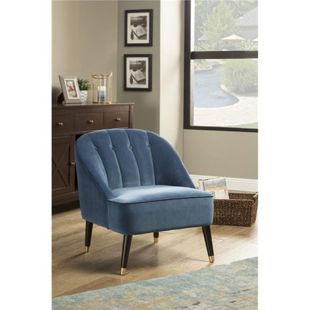 Alpine Furniture 8172-1 Deco Blue Button Tufted Accent Chair, Brown & Gold Legs