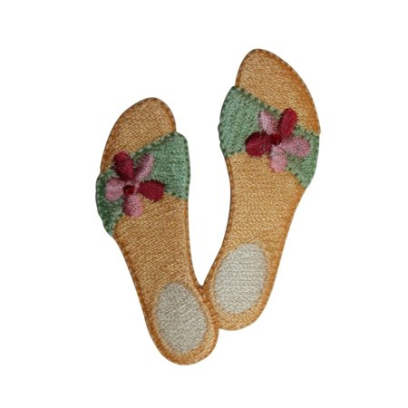 ID 7375 Yellow Floral Sandals Patch Beach Shoe Slip Embroidered Iron On Applique