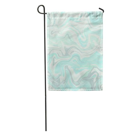 SIDONKU Watercolor Pattern Natural Pink Marble Imitation Blue and Grey Drips on Paint Waves Vortexes Stone Green Garden Flag Decorative Flag House Banner 12x18 inch