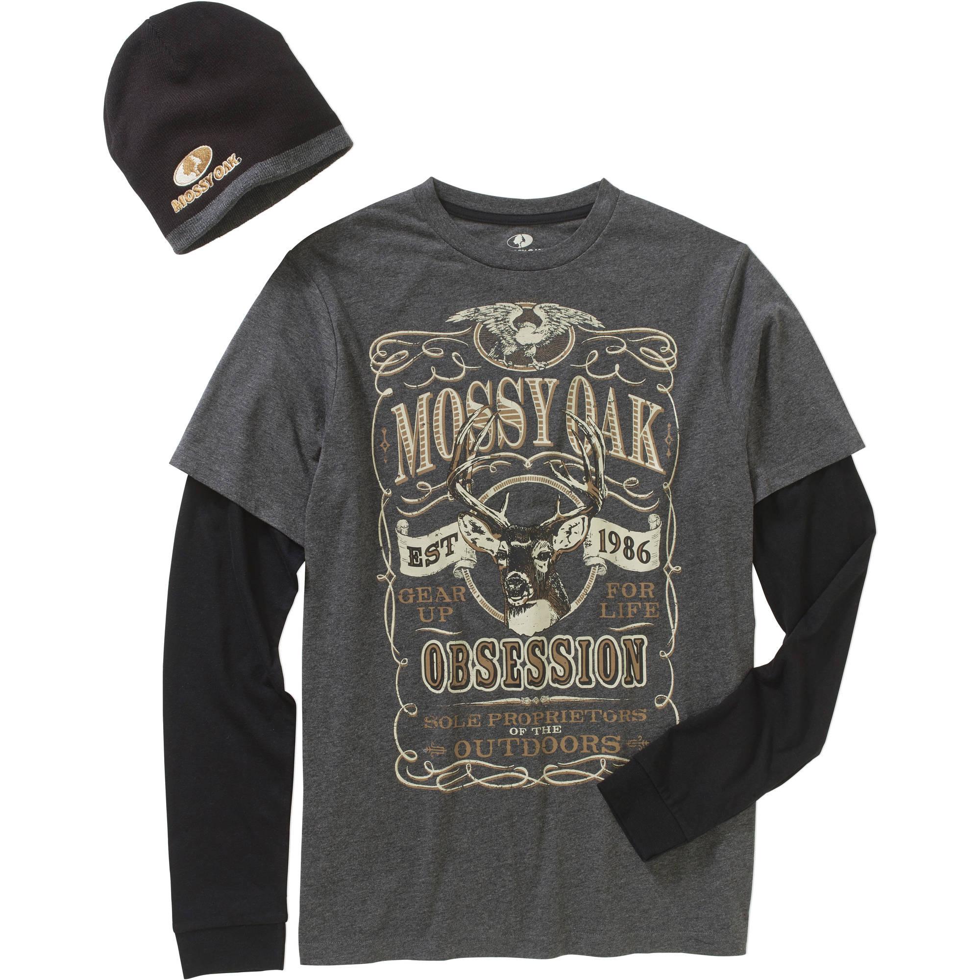 Mossy Oak Men's Combo Graphic Shirt & Beanie