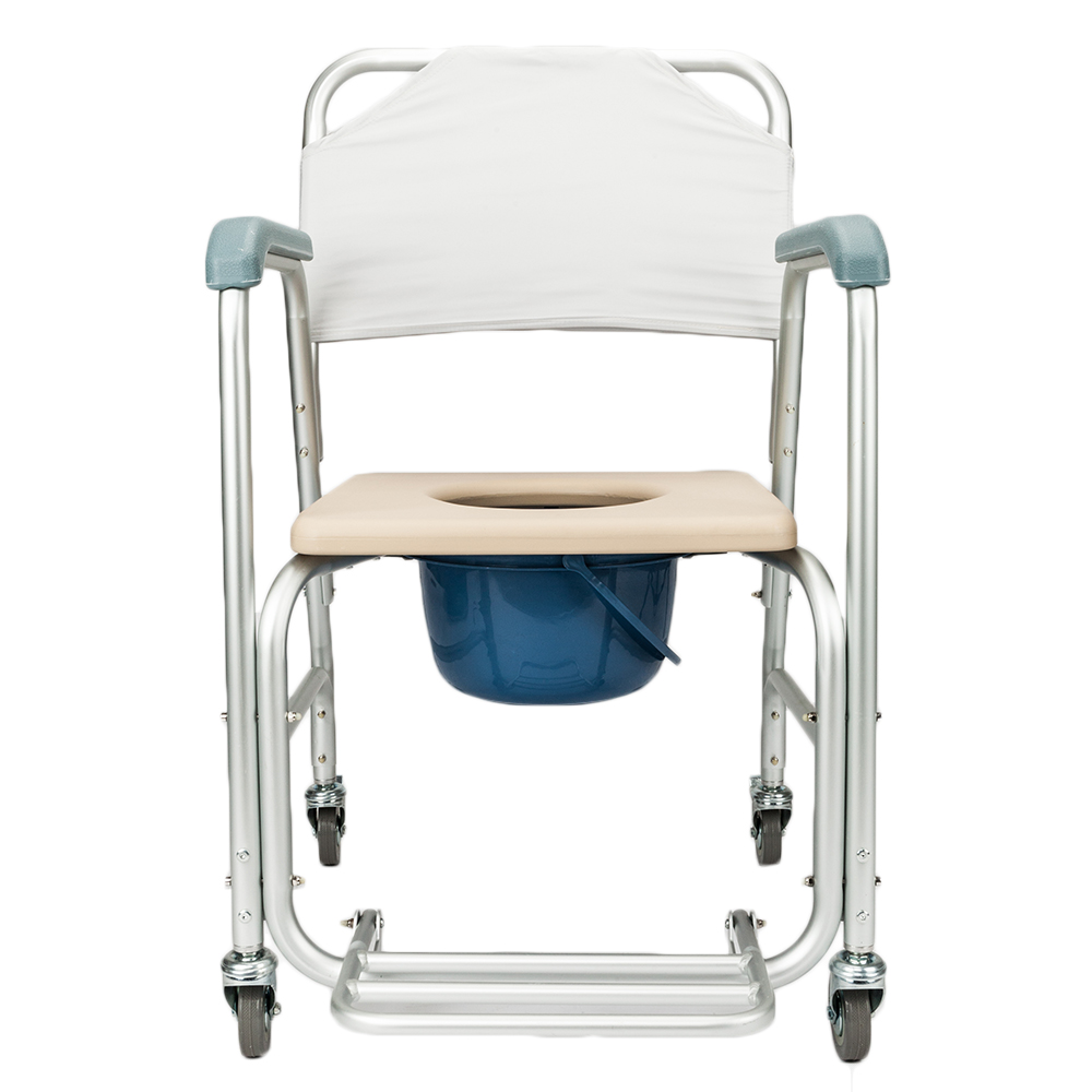 Zimtown Multiple Function Transport Wheelchair, Bedside Toilet & Transfer Chair White