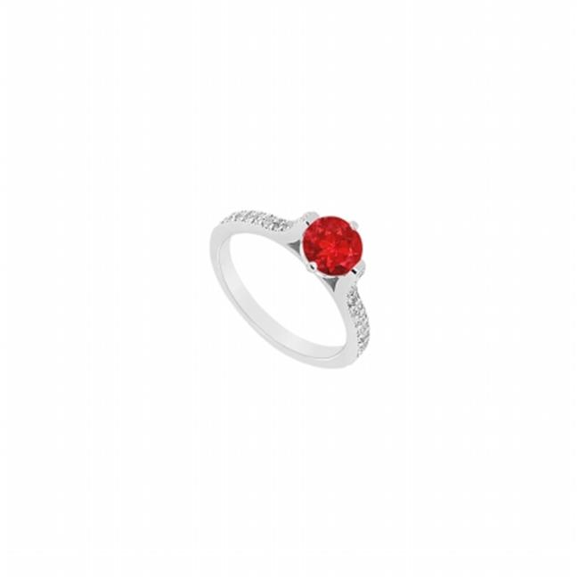 Fine Jewelry Vault UBJ1602AW14DR-101RS7.5 Ruby & Diamond Engagement Ring 14K White Gold, 0.75 CT - Size 7.5