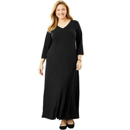 Woman Within Plus Size Maxi T-shirt Dress With Princess - Princess Dress Women