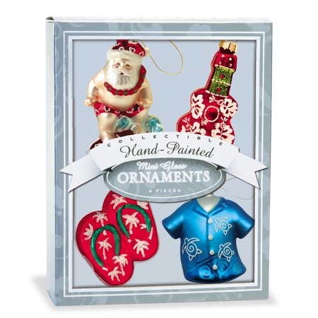 Hawaiian Christmas Blown Glass Mini Ornaments Gift Set of 4