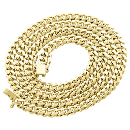14K Yellow Gold Solid Miami Cuban Link Chain 5mm Box Clasp Necklace 24 Inch