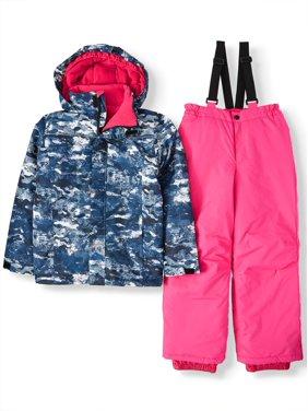 Iceburg Printed Insulated Jacket and Snowsuit/Ski Bib, 2-Piece Set (Big Girls)