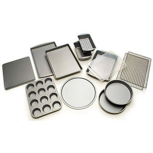 BakerEze 12-Piece Bakeware Set, Muffin Pan, Cookie Sheet, Cake and Loaf Pan, Pizza Pan