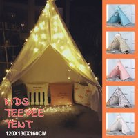 Giant Teepee Play House of Pine Wood Kids Cotton Canvas Pretend Play House Boy Girls Wigwam Gift Christmas / Halloween Decoration Gift