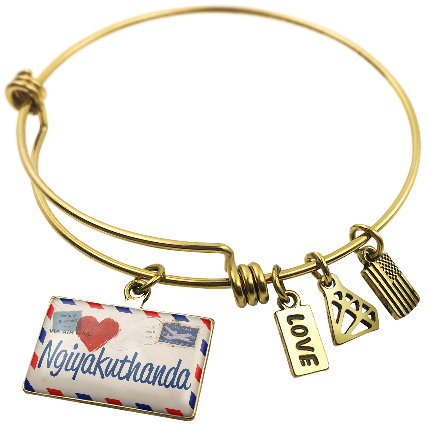 Expandable Wire Bangle Bracelet I Love You Zulu Love Letter from South  Africa , NEONBLOND