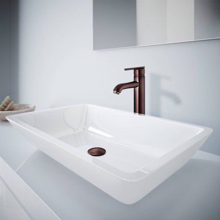 Large Flat Edged Rectangular White Phoneix Stone Vessel Bathroom Sink And Seville Vessel Faucet