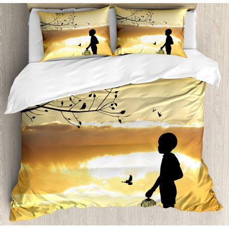 Nature King Size Duvet Cover Set  Little Child Silhouette With A Bird Cage At Sunset In Forest Rural Trees Birds  Decorative 3 Piece Bedding Set With 2 Pillow Shams  Marigold Black  By Ambesonne