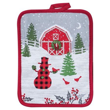 - Festive Holiday Red Plaid Snowman Barn Farm Scene Christmas Kitchen Pot Holder