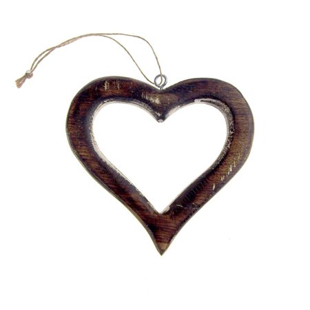 Hanging Distressed Wooden Heart Cut-Out Christmas Tree Ornament, 5-Inch ()
