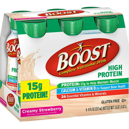 3 Pack - BOOST High Protein Nutritional Energy Drinks, Creamy Strawberry 8 oz, 6 (75 Ea Weight)