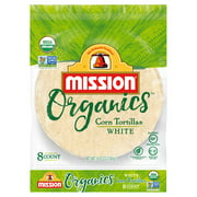 Mission Organics White Corn Tortillas, 8 Count