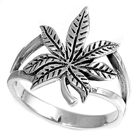 Sterling Silver Cannabis Sativa Marijuana Ring   Sizes 4 5 6 7 8 9 10 11 12 13   Wholesale Band 17Mm Rings By Sac Silver  Size 12