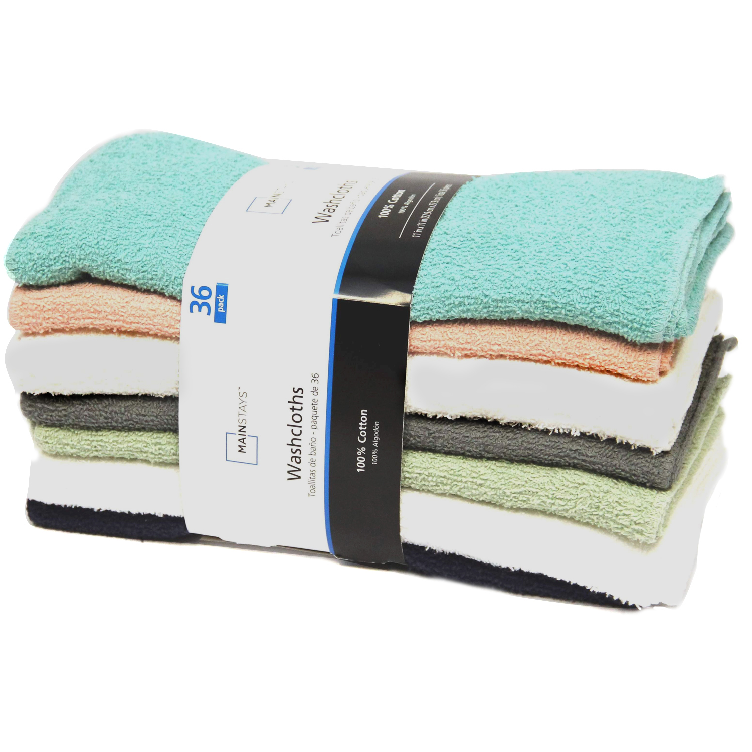 MAINSTAYS 36PK WASHCLOTH COLLECTION