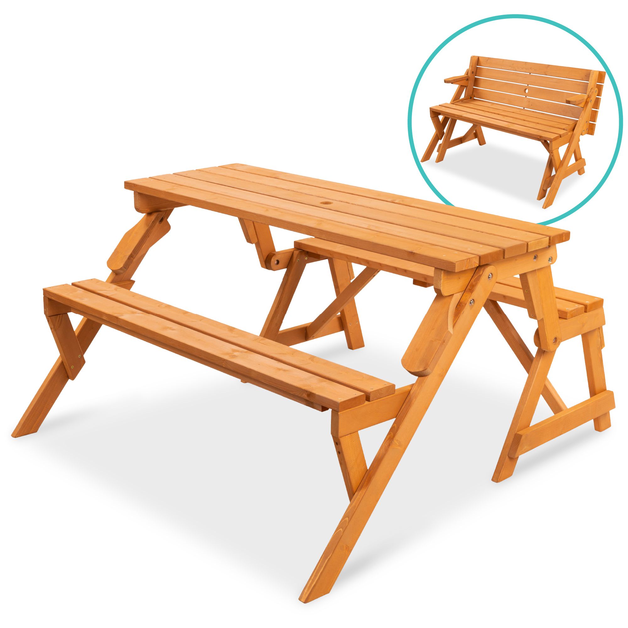 Best Choice Products 8-in-8 Outdoor Interchangeable Wooden Picnic  Table/Garden Bench for w/ Umbrella Hole - Natural - Walmart.com