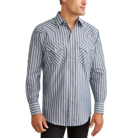 Stripe Non Iron Shirt - Men's Long Sleeve Stripe Western Shirt