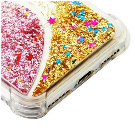 Apple iPhone 6s/6s Plus/7 Plus/8 Plus Case, by Insten Quicksand Glitter Hard Plastic/Soft TPU Rubber Transparent Case Cover For Apple iPhone 6s/6s Plus/7 Plus/8 Plus, Pink/Gold - image 2 de 3