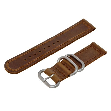 Dark Brown Crazy Horse Oiled Leather 2-Piece NATO Style Zulu Watchband (20 & 22mm) (Zulu Watch Strap)