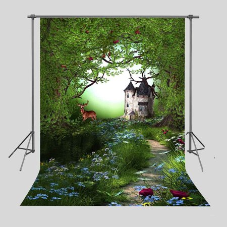 HelloDecor Polyster 5x7ft Green Forest Flowers Backdrop Photography Background Photo Props Room Wall Mural](Room Background)