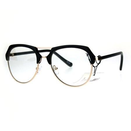 Retro Luxury Half Rim Aviator Designer Fashion Clear Lens Eye Glasses Black (Designer Reading Glasses Online)