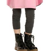 Girls Charcoal Jersey Designer Leggings 7-14