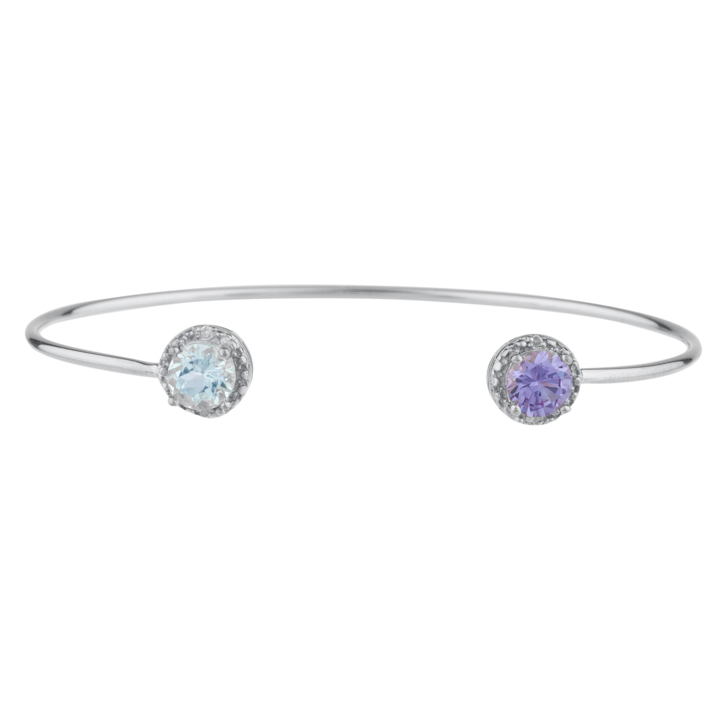 Aquamarine & Alexandrite Diamond Bangle Round Bracelet .925 Sterling Silver Rhodium Finish by Elizabeth Jewelry Inc