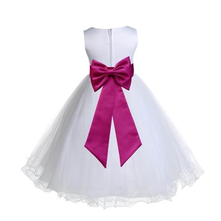 Ekidsbridal Satin White Fuchsia Tulle Rattail Christmas Party Bridesmaid Recital Easter Holiday Wedding Pageant Communion Princess Birthday Clothing Baptism 829T size 6-9 month Flower Girl Dress