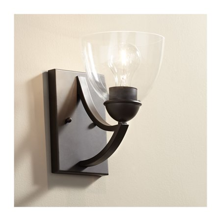 "Possini Euro Design Possini Euro Milbury 9"" High Bronze Clear Glass Wall Sconce"
