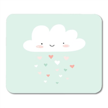 KDAGR Kid Colorful Baby Nursery with Happy Smiling Cloud and Hearts Rain Cute Valentines Raindrop Smile Mousepad Mouse Pad Mouse Mat 9x10 inch
