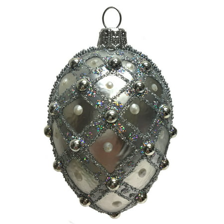 Mini Silver Jeweled Faberge Inspired Egg Polish Glass Christmas Tree Ornament ()