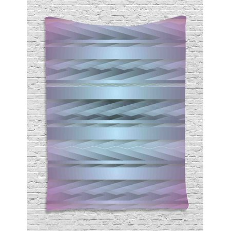 Modern Decor Tapestry, Gradient Toned Zig Zag Retro 80s Party Style Fragmented Stripes Graphic Art, Wall Hanging for Bedroom Living Room Dorm Decor, 40W X 60L Inches, Lilac Blue, by Ambesonne