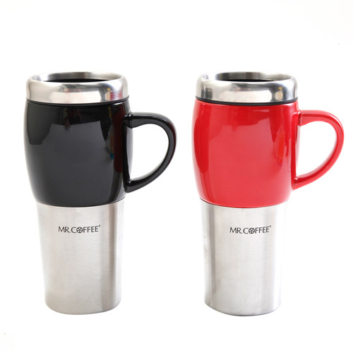Mr. Coffee Traverse 16-Ounce Travel Mugs, 2-Pack