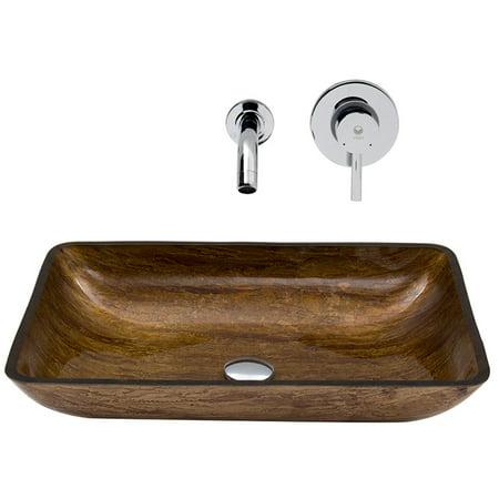 Rectangular Amber Ring - Vigo Rectangular Amber Sunset Glass Vessel Sink and Wall Mount Faucet Set, Chrome