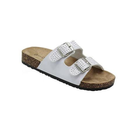 dee9eac831a6 Fashion Brands Group - Kylie-07 Women Double Buckle Straps Sandals Flip  Flop Platform Footbed Sandals White 9 - Walmart.com