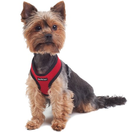 Harness Neck - Dogs My Love Soft Mesh Walking Harness for Dogs and Puppies 6 Sizes Red (XS (Neck Max: 9
