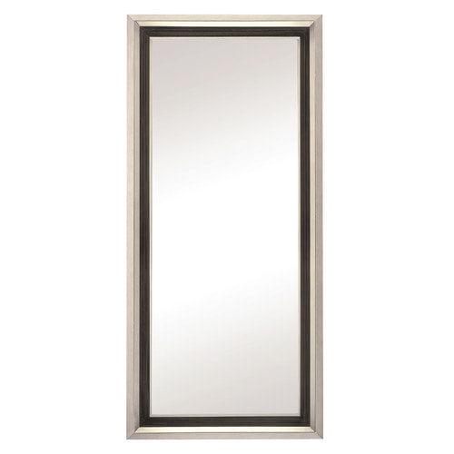 Majestic Mirror Large Minimal Mirror Framed with Sliver Nickle, Black and Walnut Veneer