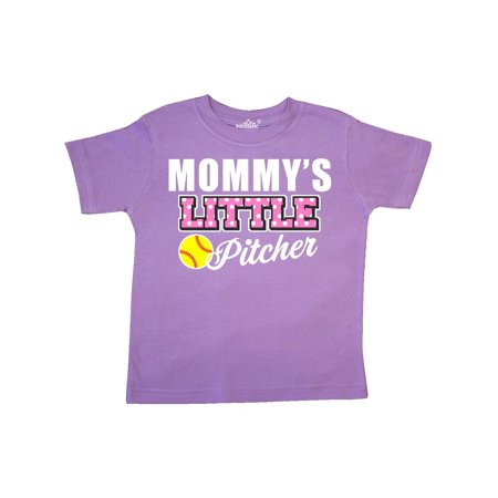 - Mommys Little Pitcher Softball in White Toddler T-Shirt